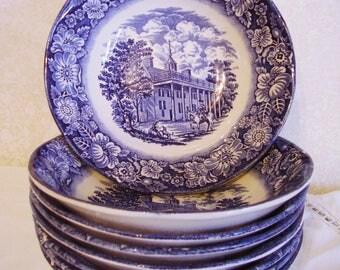 8 Staffordshire Liberty Blue cereal / salad bowls, Mt. Vernon, vintage 1976