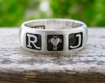 Romeo & Juliet Ring with Custom Star Wars Font Engraving Cast in Sterling Silver with Matte Finish Size 7