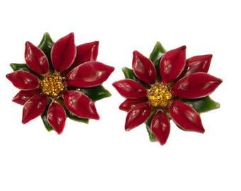 1960s Red Green Enamel Amber Rhinestone Christmas Holiday Pointsettia Vintage Clip On Earrings