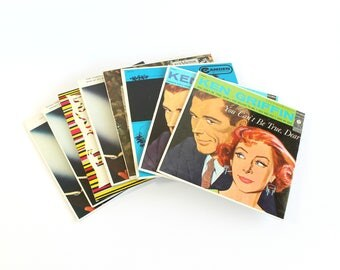 Vintage Record Set 45 RPM Extended Play Full Color Graphic Mid Century Cardboard Sleeves Wall Decor Record Collector Gift