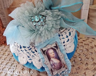 RESERVED4DORTHE - stuffed fabric pumpkin - teal turquoise blue - Marie Antoinette - French  - Halloween decor - NO458