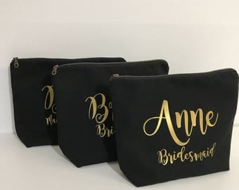 Personalized Cosmetic Bag , Bridesmaid Cosmetic Pouch , Cosmetic Bag , Bridesmaid Gift , MakeUp Bag , Custom Name Pouch