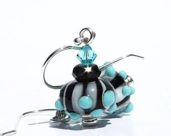Lampwork Earrings, Blue Dots, Black and White, Stripes, Glass Bead Earrings, Teal Blue Beads, Lampwork Beads, Aqua Swarovski, Aqua Earrings