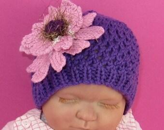 40% OFF SALE Digital file pdf download knitting pattern Baby Chunky Lacey Flower Skullcap - Knitting pattern pdf download