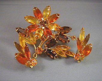Topaz Shades Brooch and Earrings Set