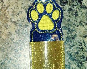 Paw print - lip balm holder - party favor - school spirit - flash drive holder - stocking stuffer - school colors - birthday party - bulldog