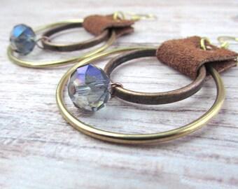 Womens Tribal Earrings - Womens Bohemian Earrings - Bohemian Tribal Earrings - Boho Leather Earrings - Womens Crystal Earrings - Leather