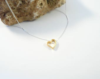 Sterling silver necklace with 24k gold plated sterling silver heart