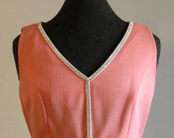 Vintage Mod Peach Bow and Rhinestone Sleeveless Dress by The Collection
