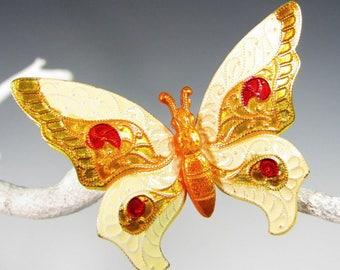Vintage YELLOW ENAMEL BUTTERFLY Pin Figural Enameled Flower Power Brooch