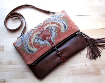 Carpet leather bag, Large Leather foldover clutch, leather crossbody bag, tapestry fabric and rust leather clutch, leather wrist strap