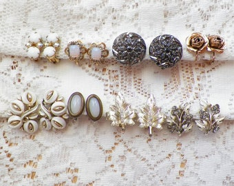 Destash Lot 8 Pairs Vintage Clip On and Screw Back Earrings, Faux Opal, Rhinestones, Glass, Milk Glass, Coro, 12 K Gold Filled, Leaves