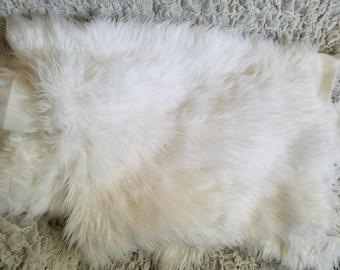 "2"" Pile Faux Fur Fabric REMNANTS - White, Gray"