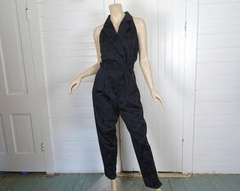 90s Black Brocade Jumpsuit- 1990s- Back Cutout- Tapered Pants- Club- Goth- Sleeveless- Medium