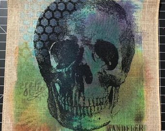 Hello Wanderer Skull Ribbon Ink Painting