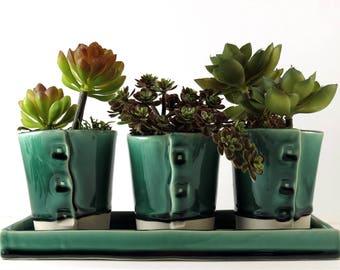 Succulent Planter, Ceramic Planter, Desk Planter, Pottery Flower Pot, Green Planter, Succulent Flower Pot, Cactus, Kitchen Decor, 382