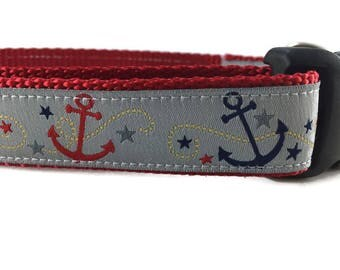 Dog Collar, Anchors Away, 1 inch wide, adjustable, quick release, plastic buckle, metal buckle, chain, martingale, hybrid, nylon
