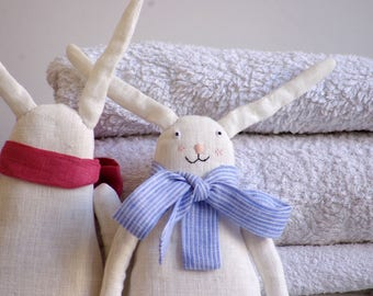White soft bunny rabbit with blue  ribbon. Soft toy. Ready to ship