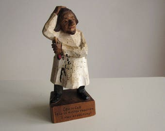 Folk art hand-carved wooden chemist figurine