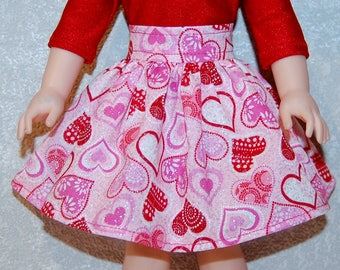 Skirt handmade for 14.5 inch Wellie Wishers Valentine Heart Sparkle - Doll Clothes  tkct1204 READY TO SHIP