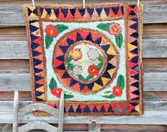 "Antique Early Primitive Rag Rug carpet Medallion Floral Flowers 35x35"""