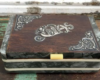 Antique Portuguese Jewels Jewelry Box Wood Celluloid and Sterling Silver