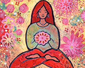 Original Acrylic Yoga Painting Titled Red Haired Yoga Girl