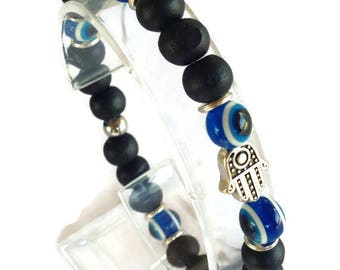 Hamsa hand evil eye bracelet - black wood beads - protection - Greek jewelry -
