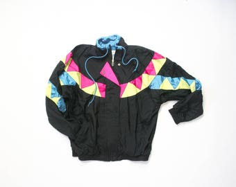 90s Windbreaker Neon Colorblock Jacket 1990s Soft Grunge Vaporwave New Wave 80s Trophy Bomber Zip Up Track Warm Up Trainer 1980s Athleisure