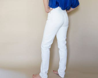 90s PERFECT FIT ultra high waist WHITE denim jeans 5-6