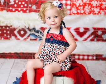 Girls Romper, 4th of July Romper, Bubble Romper, Patriotic Romper, Red white and blue outfit, 4th of July outfit, by Melon Monkeys
