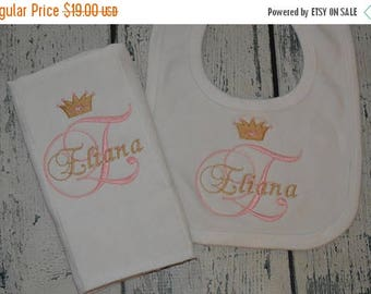 ON SALE Personalized Bib and Burp Cloth set with Princess Tiara