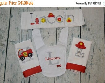 ON SALE Personalized Firetruck Gift Set 3 Burp Cloths and 1 Bib Monogram Set of Fireman Baby Gifts