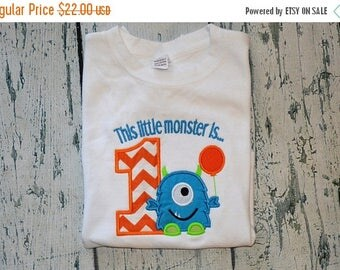 ON SALE Personalized This Little Monster is One  Shirt  First Birthday Monster Shirt