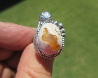 ORANGE ORACLE to OBSESS - Sterling Silver Feathered Mexican Jelly Opal Ring - Size 10 - Free Resizing