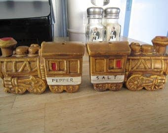 Brown Ceramic Steam Engines Salt and Pepper Shakers
