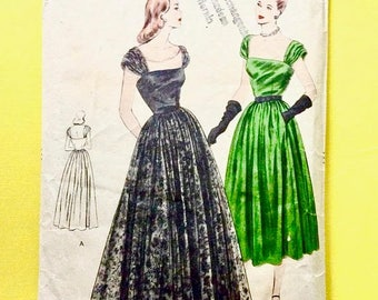 ON SALE Vogue 5989 1940s Evening Gown 40s Dress Vintage Sewing Pattern Bust 34 Hip 37 inches