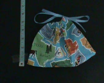 Blue Drawstring Pouch That Has States And Capitals And Pictures From State