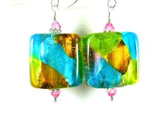 Colorful Patchwork Square Murano Glass Dangle Earrings, Pink Aqua Green Amber Silver Foil Earrings, Venetian Murano Jewelry, Fall Jewelry
