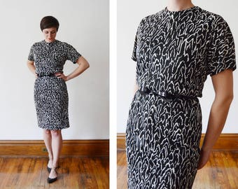 60s Henry Lee Black and White Jersey Cocktail Dress - S