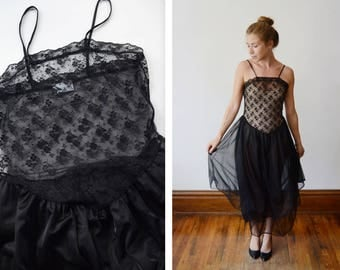 1980s Sheer Lace Black Nightgown - S