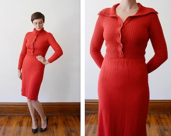 Late 70s early 80s Red Button Up Sweater Dress - XS/S