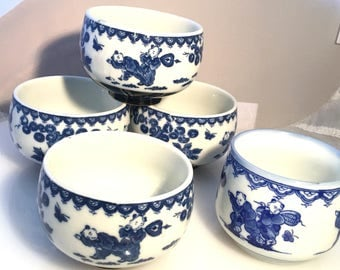 Antique China Export Qing Dynasty Porcelain Blue White Tea Cups