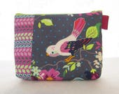 LAST ONE Gigi Blooms Fabric Gadget Pouch Small Cosmetic Bag Fabric Zipper Pouch Makeup Bag Adorn it Hello Birdie Birds Floral Purple Gray