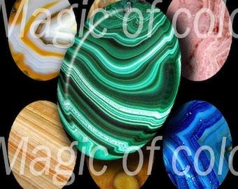 Gem Slices - 90  18x25 mm Oval  JPG images - Digital  Collage Sheet