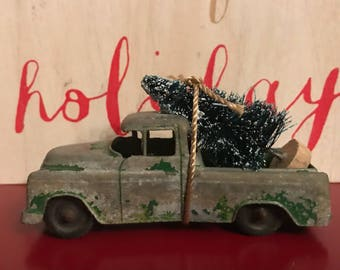 Vintage Truck Carrying Christmas Tree Ornament