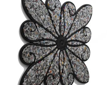 FLOWER-  made with recycled magazines, metal, black, modern, home decor, interior design, delicate, unique, swirls, petals, wall art