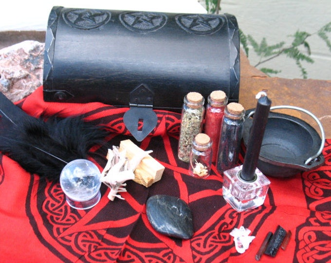 Featured listing image: Dark Goddess Ritual and Divination Kit~One of a kind~Hand Made and supplies.