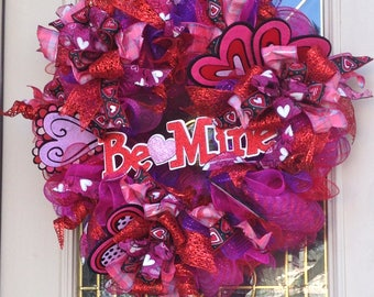 Be Mine Valentine Wreath with Hearts curlu picks  and Ribbon inRed,Pink and Purple,Fun Valentine Wreath,Wreath for Valentine PartyFront Door