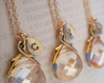 ON SALE Bridesmaid Jewelry Set of 6 Crystal Golden Shadow Necklaces with Stamped Initial